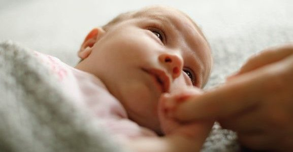 A close-up of a baby